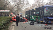 Lamborghini Aventador has a brutal frontal collision with a bus in China