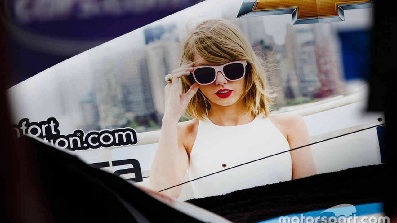 Taylor Swift on an IndyCar
