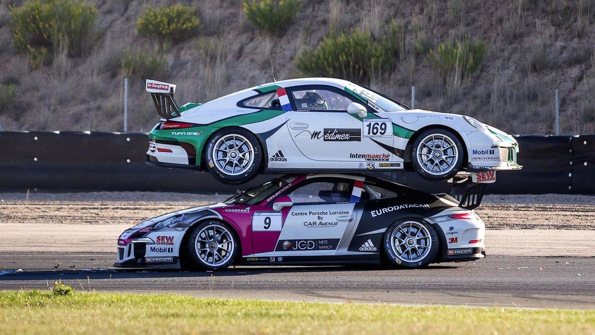 Porsche 911 GT3 racecar ends on top of another 911 GT3 at Carrera Cup France race [video]