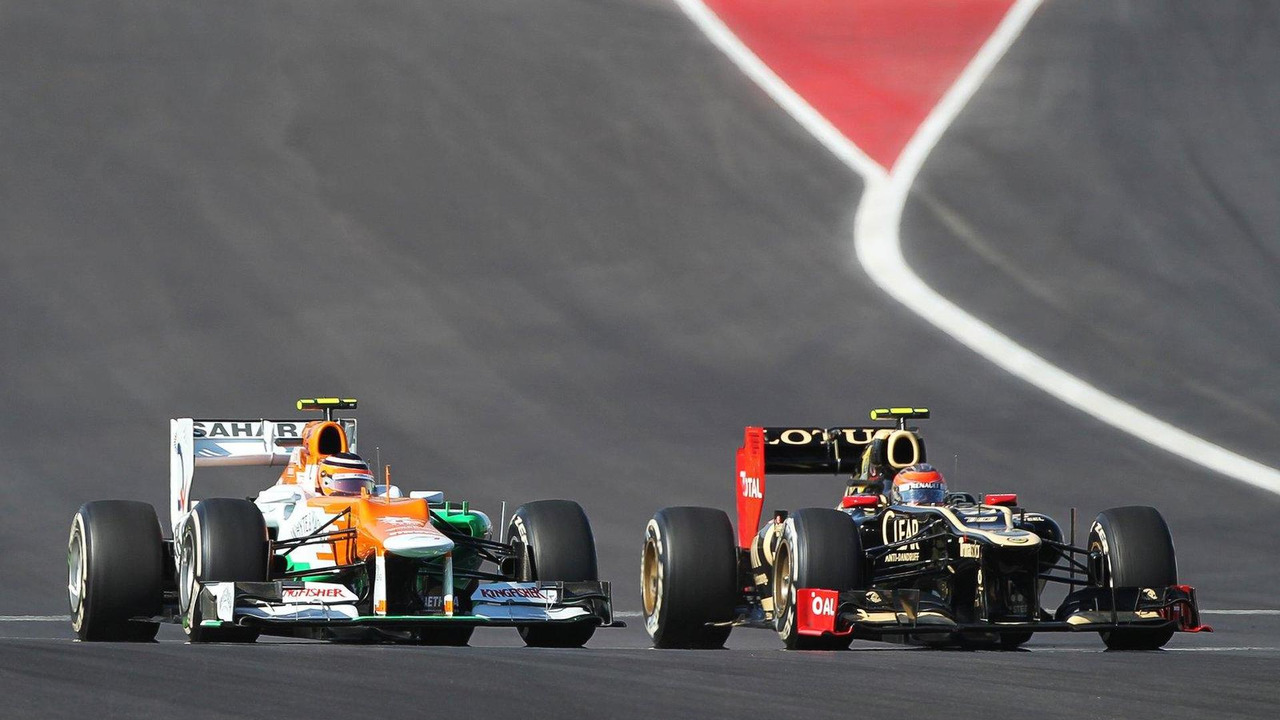 Nico Hulkenberg and Romain Grosjean battle for position 18.11.2012 United States Grand Prix
