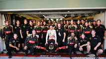 Romain Grosjean, Lotus F1 E23 at a team photograph