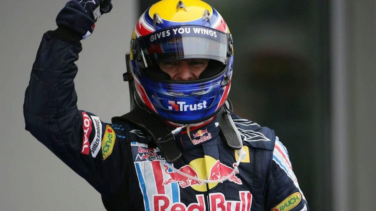 Mark Webber celebrates winning the German Grand Prix at Nurburgring