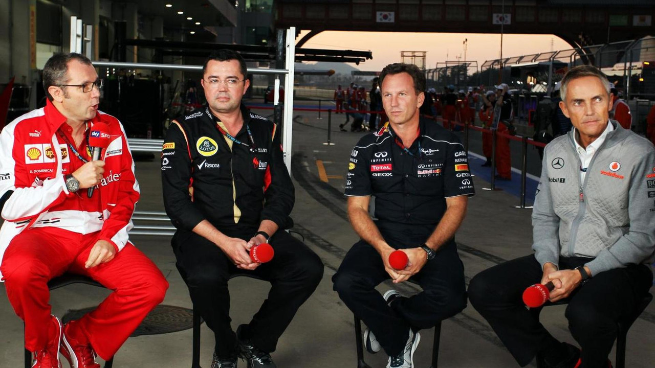 Stefano Domenicali with Eric Boullier, Christian Horner and Martin Whitmarsh 04.10.2013 Korean Grand Prix