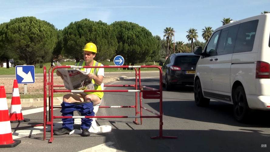 French Prankster Gets Naked For Roadside Stunts