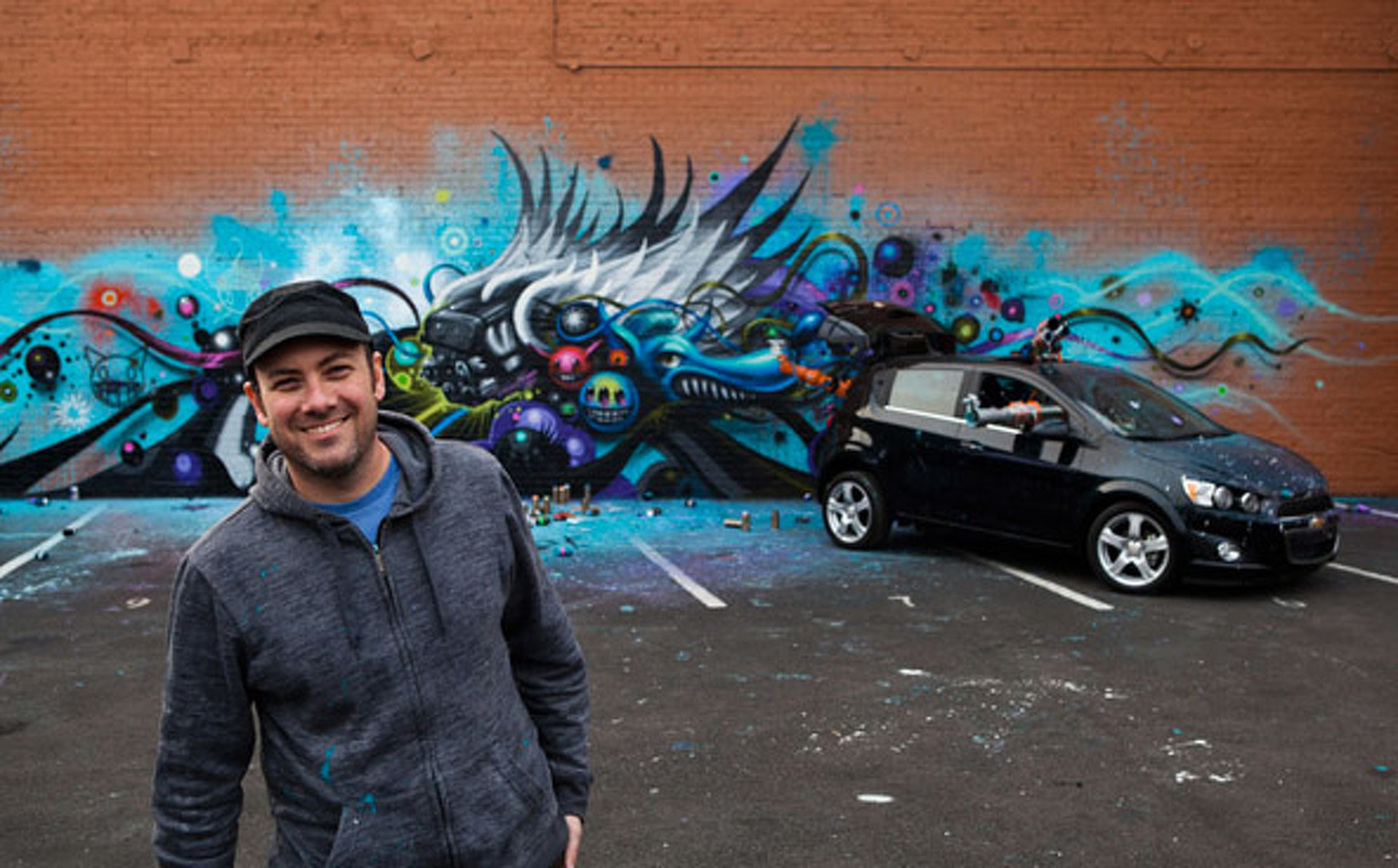 Video: Jeff Soto creates Street Art with a Robot and a Chevy Sonic