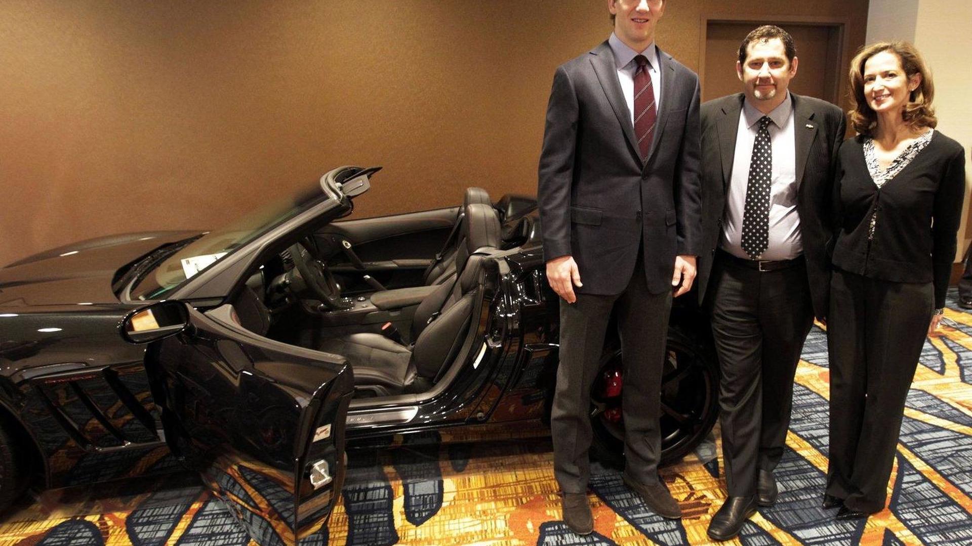 Super Bowl XLVI MVP presented with 2012 Corvette Grand Sport Convertible Centennial Edition