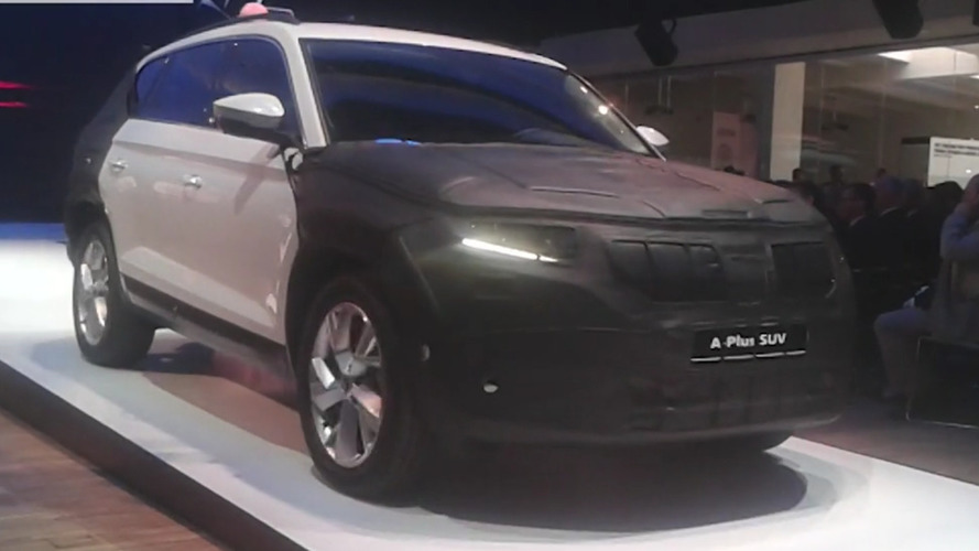 Disguised Skoda Kodiaq shown at media event