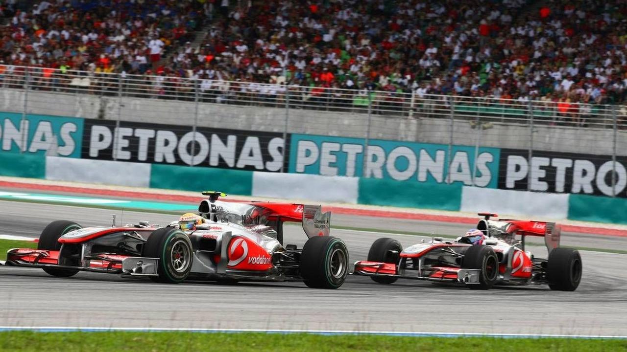 Lewis Hamilton (GBR), McLaren Mercedes, MP4-25 leads Jenson Button (GBR), McLaren Mercedes, MP4-25, Malaysian Grand Prix, 04.04.2010 Kuala Lumpur, Malaysia