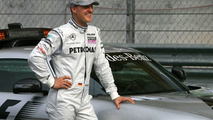 Schumacher drives 2010 Mercedes at Rockingham
