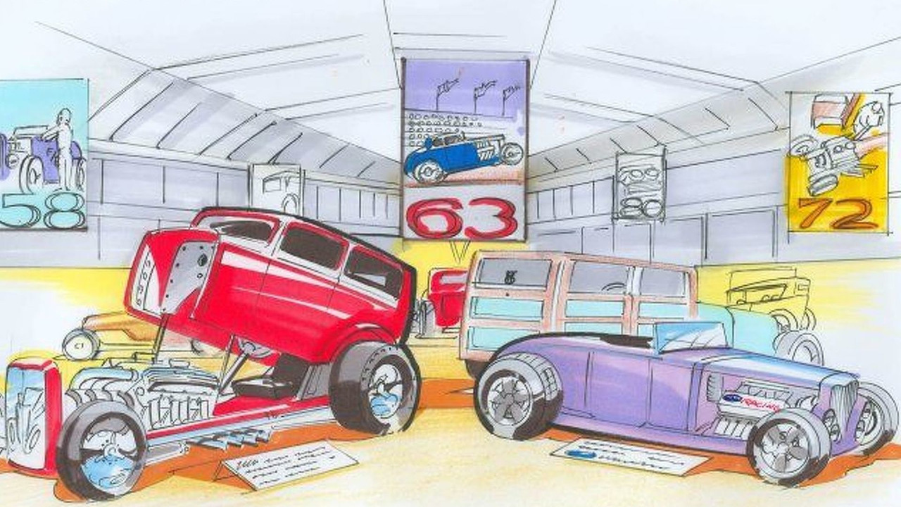 Ford Hot Rod exhibition illustration