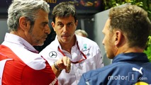 (L to R): Maurizio Arrivabene, Ferrari Team Principal with Toto Wolff, Mercedes AMG F1 Shareholder and Executive Director with Christian Horner, Red Bull Racing Team Principal