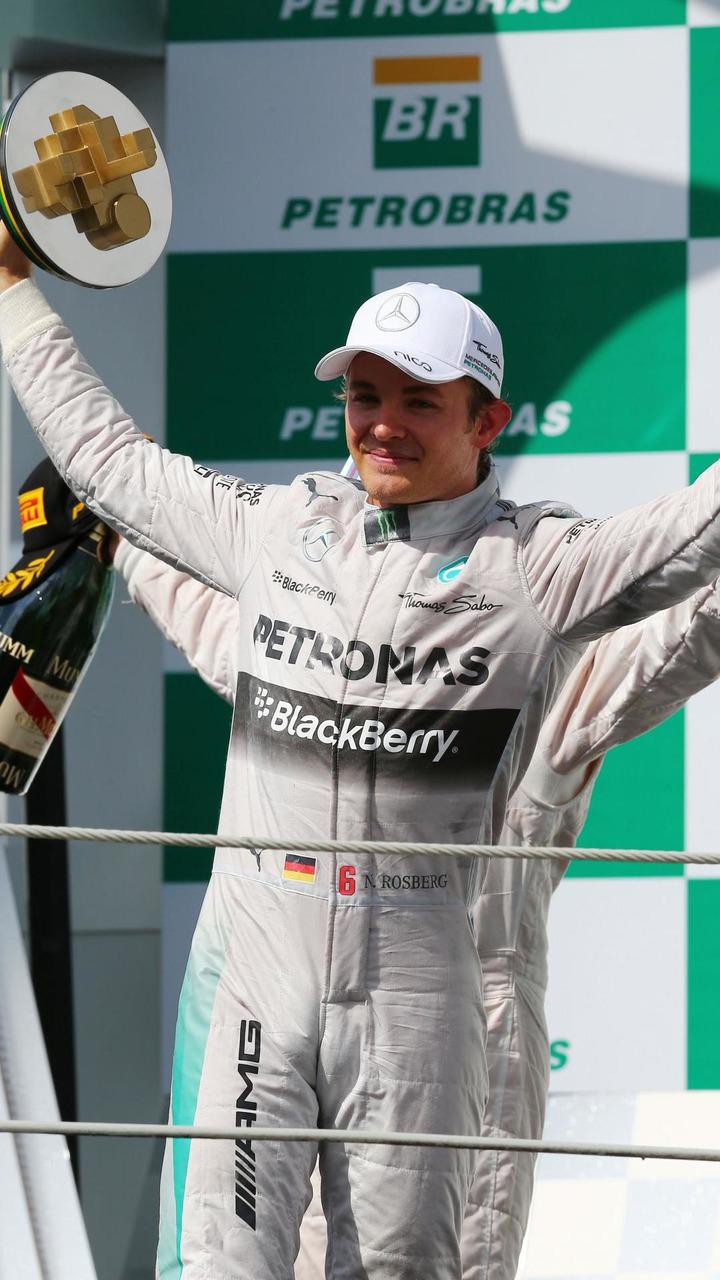 Race winner Nico Rosberg (GER) celebrates on the podium, 09.11.2014, Brazilian Grand Prix, Sao Paulo / XPB