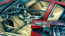 Lamborghini Countach cutaway drawing by David Kimble