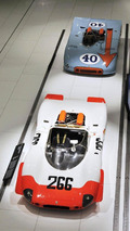 Porsche 908 02 and Porsche 908 03 form part of the Targa Florio display at the Porsche Museum in Stuttgart, 24.06.2010