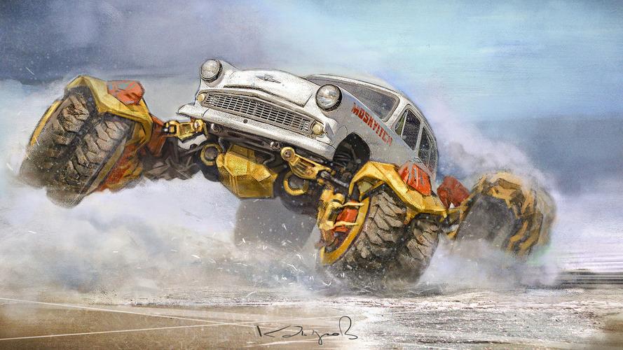 Kazakh artist reimagines Soviet cars as post-apocalyptic monster trucks