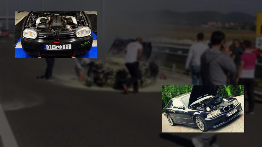 V10-powered BMW M3 and VW Golf race on freeway, doesn't end well