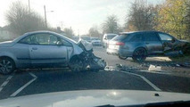 Mitsubishi Colt CZC and David Beckhams Audi RS6 Avant crash