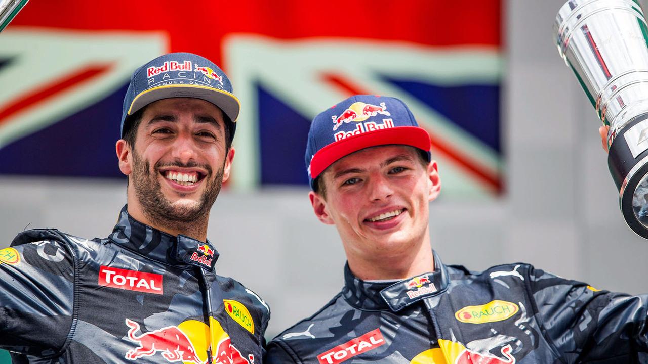 Podium : le deuxième Daniel Ricciardo, Red Bull Racing, le troisième Max Verstappen, Red Bull Racing