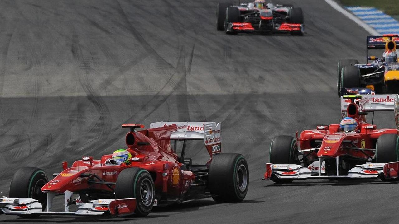 Felipe Massa leads Fernando Alonso during the 2010 German Grand prix