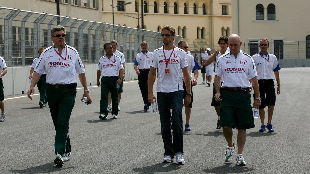 Jenson Button and Ross Brawn. Honda Racing F1 Team. European Grand Prix 21.08.2008