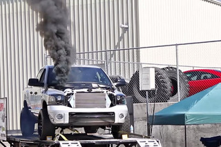 Watch this Diesel Truck Ignite on a Dyno