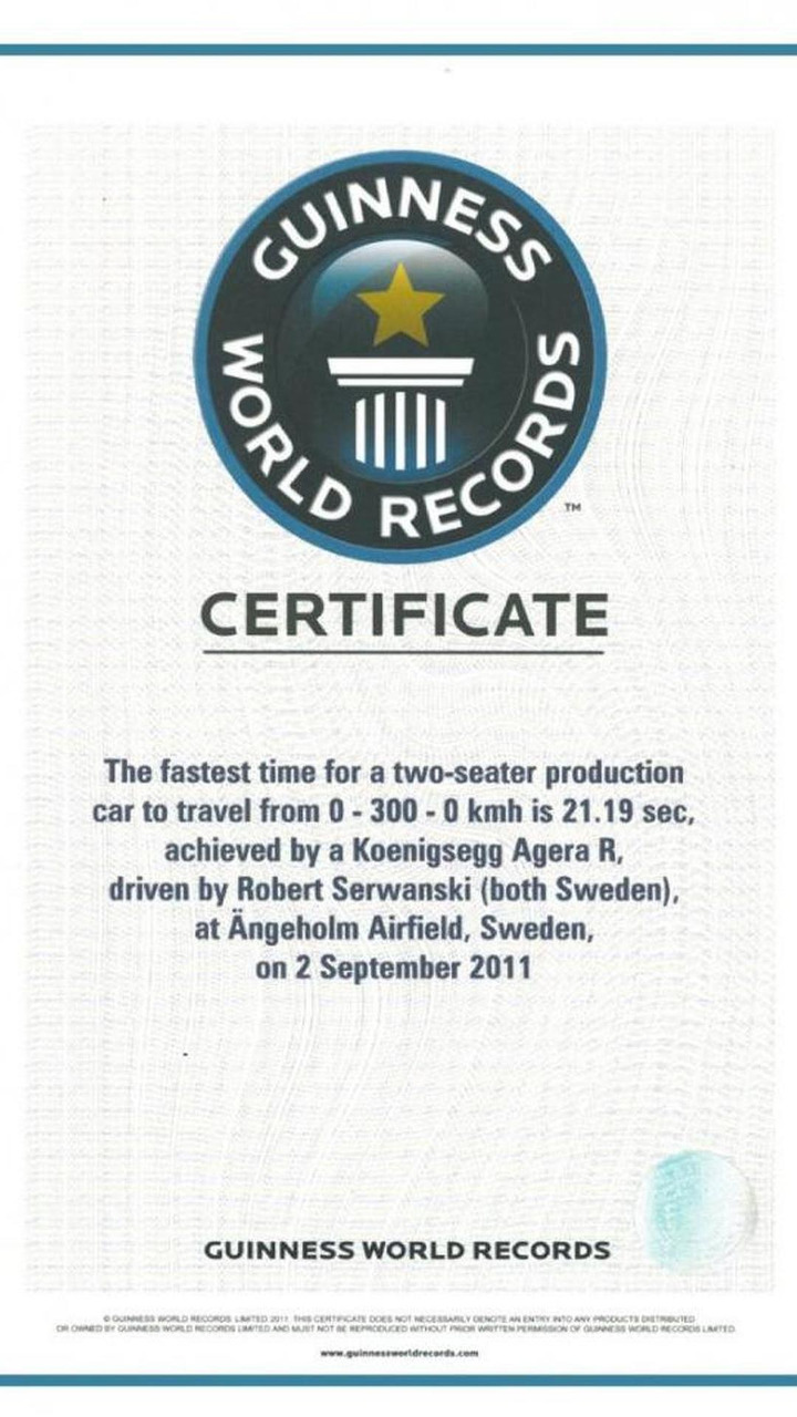 Koenigsegg Agera R Guiness world record certificate 30.11.2011
