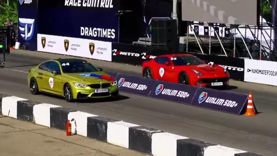 See if a 700-hp BMW M4 can beat a Ferrari F12 in a drag race