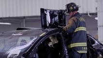 Watch a fire department slice open a Tesla Model X