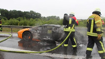 Lamborghini Aventador burns on the Autobahn