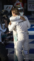 Winner Nico Rosberg, Mercedes AMG F1 Team, second place Lewis Hamilton in parc ferme