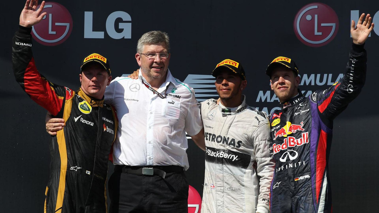 1st place Lewis Hamilton (GBR) Mercedes AMG F1 W04 with 2nd place Kimi Raikkonen (FIN) Lotus F1 E21 and 3rd place Sebastian Vettel (GER) Red Bull Racing 28.07.2013