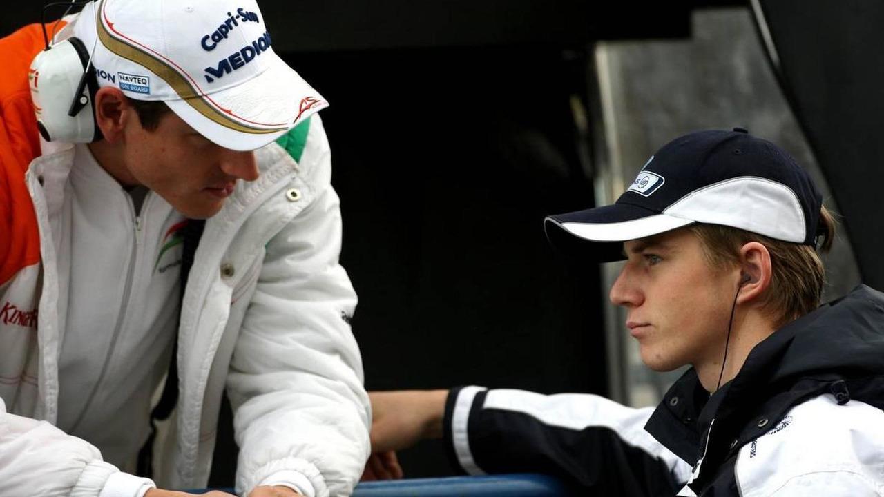 Adrian Sutil (GER), Force India F1 Team, Nico Hulkenberg (GER), Williams F1 Team - Formula 1 Testing, Jerez, Spain, 11.02.2010