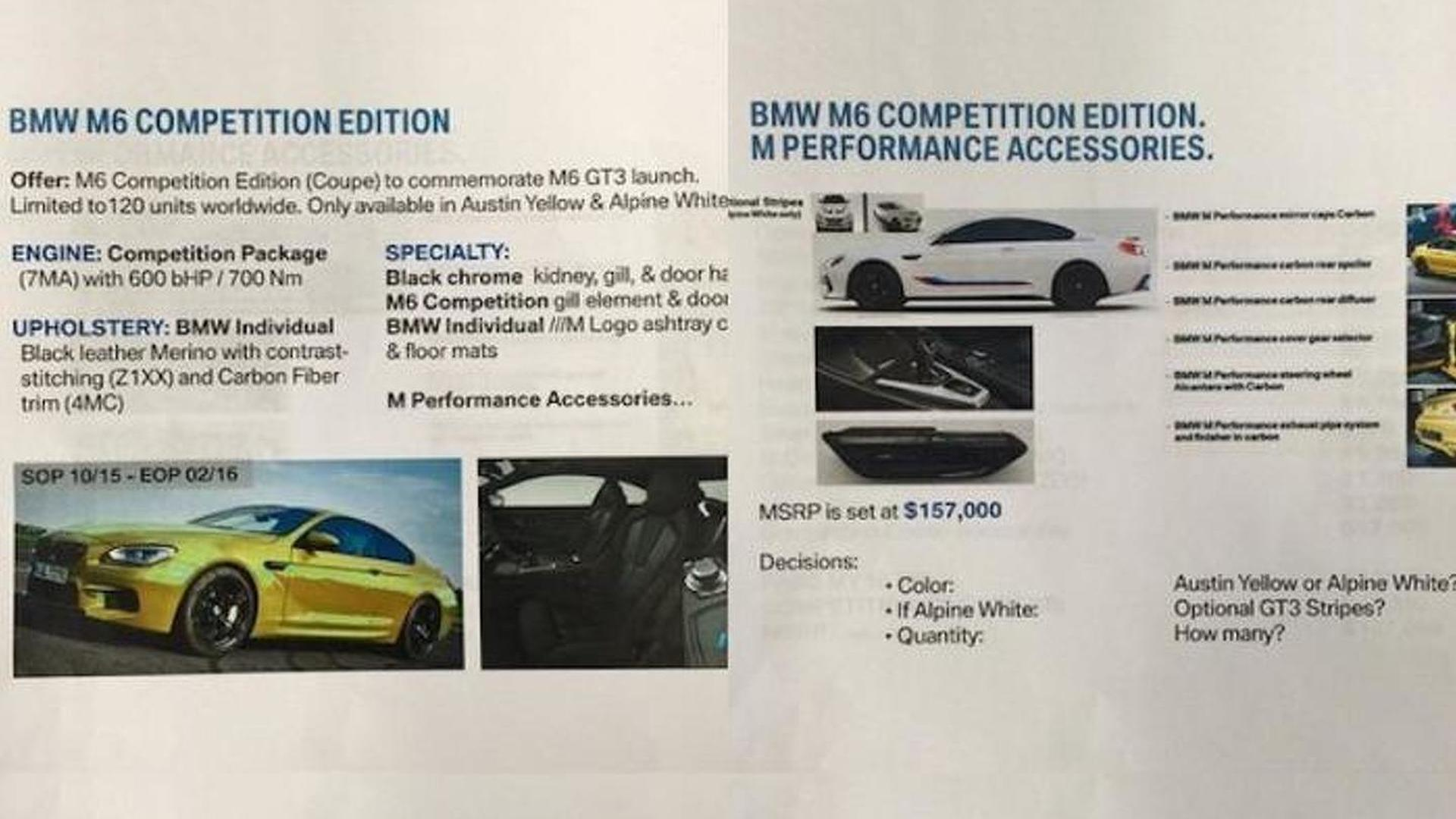 BMW M6 Competition Edition reportedly leaked