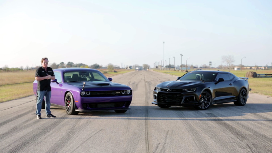 Hellcat Challenger and Camaro ZL1 go head to head