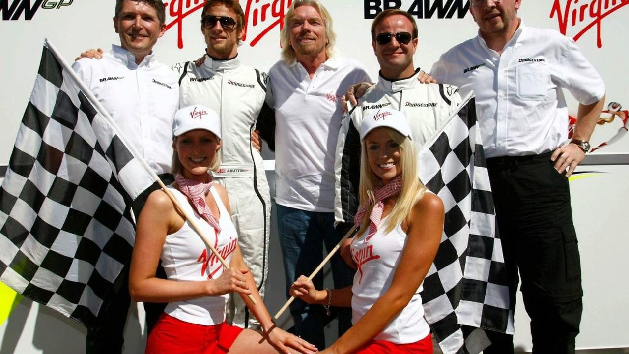 Nick Fry (GBR), BrawnGP, Chief Executive Officer with Jenson Button (GBR), Brawn GP Sir Richard Branson (GBR) CEO of the Virgin Group makes and announcement regarding the Virgin sponsorship deal with Brawn GP, Rubens Barrichello (BRA), Brawn GP and Ross B