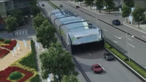 Straddling bus concept eases traffic by flying over cars