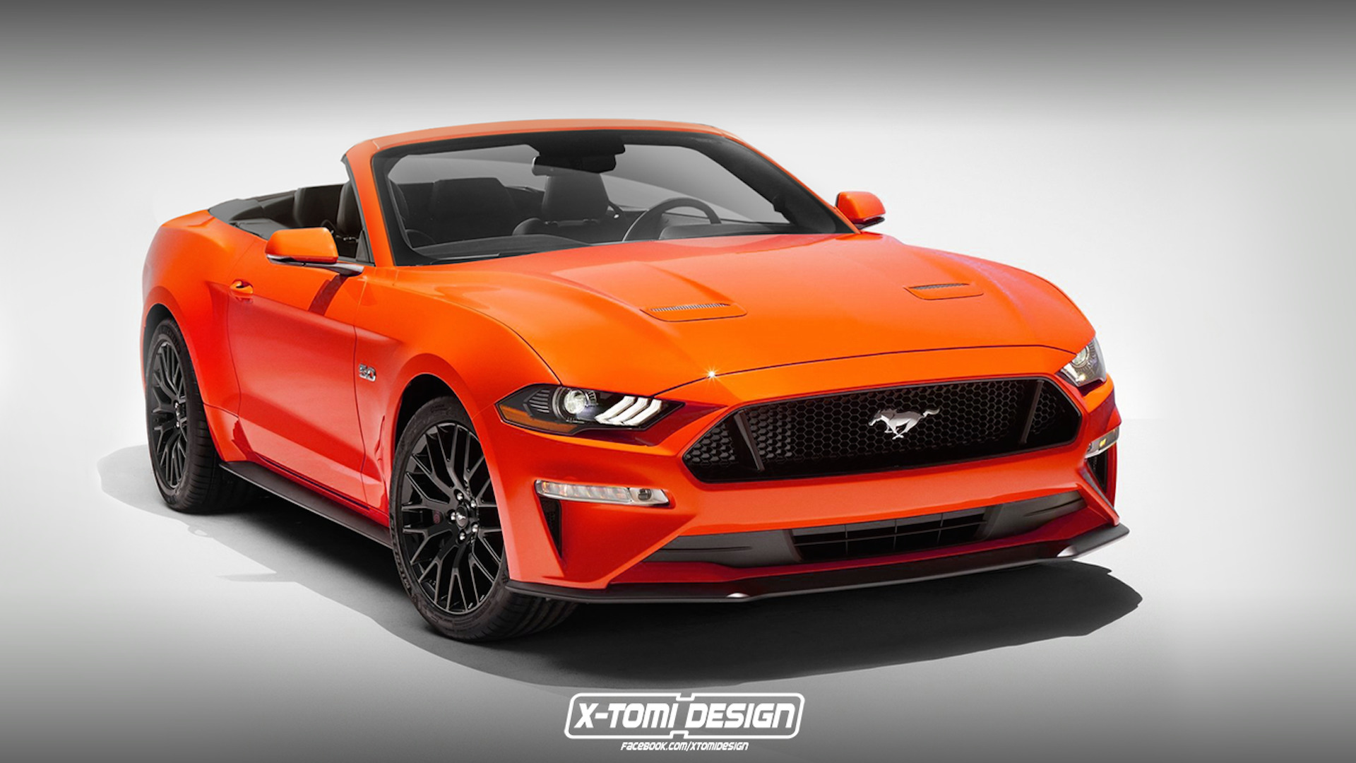 2018 mustang convertible rendered with its new face. Black Bedroom Furniture Sets. Home Design Ideas