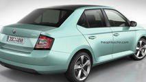 2014 Skoda Fabia rendered in sedan body style