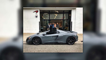 Jenson Button takes delivery of McLaren 675LT Spider in Beverly Hills