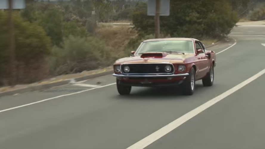 Jay Leno rumbles around in freshly restored 1969 Ford Mustang Boss 429