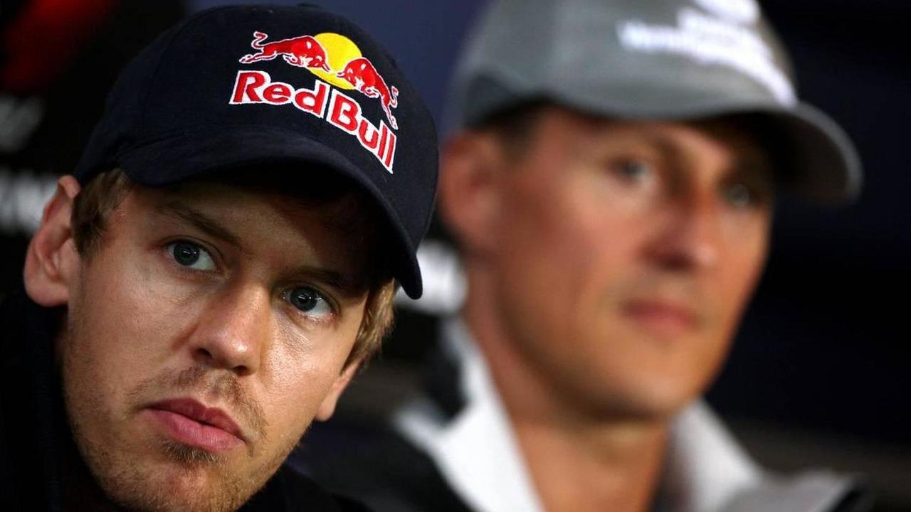 Sebastian Vettel (GER), Red Bull Racing, Michael Schumacher (GER), Mercedes GP Petronas, German Grand Prix, 22.07.2010 Mannheim, Germany