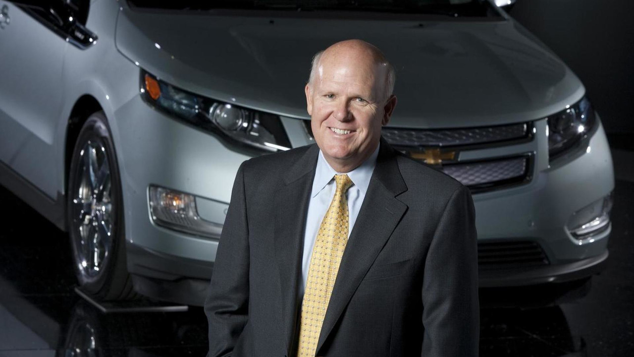 Dan Akerson with the 2011 Chevrolet Volt electric vehicle with extended range at General Motors headquarters in Detroit, Michigan Tuesday, August 31, 2010.