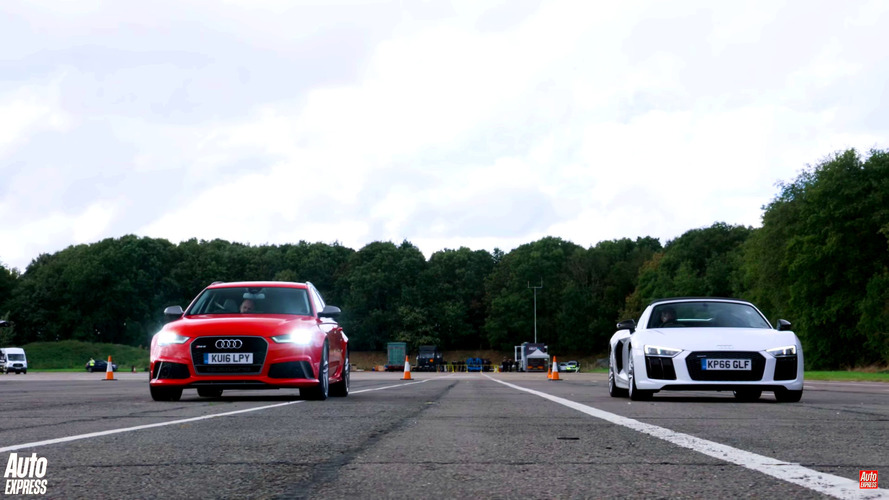 Can an Audi RS6 beat an R8 Spyder in a drag race?