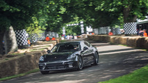 Patrick Dempsey drives lightly camouflaged 2017 Porsche Panamera up Goodwood hill
