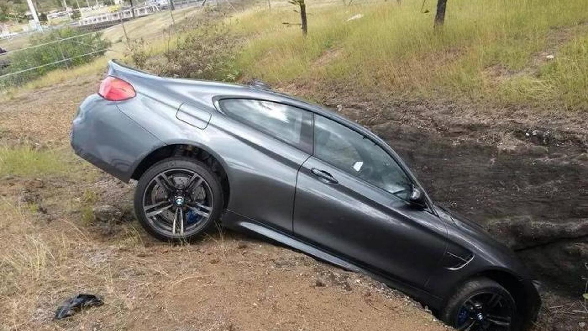 BMW M4 ends up in a ditch in France