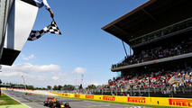 Max Verstappen, Red Bull Racingtakes the chequered flag for his first F1 win