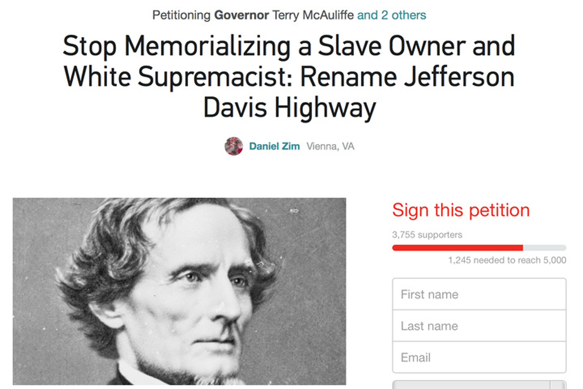 Petition Aims to Rename Virginia's Jefferson Davis Highway