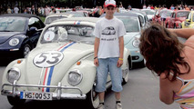 Line-up of VW Beetles and New Beetles