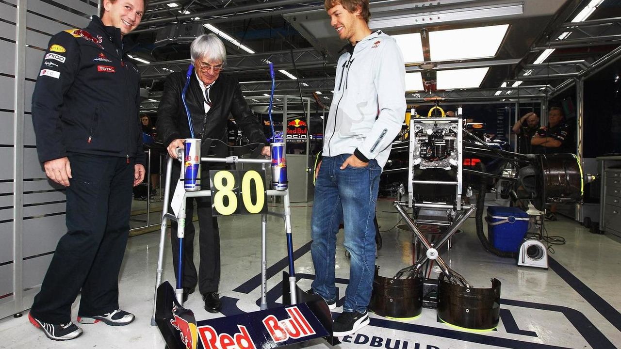 Bernie Ecclestone birthday gift from Red Bull team 24.10.2010 Korean Grand Prix
