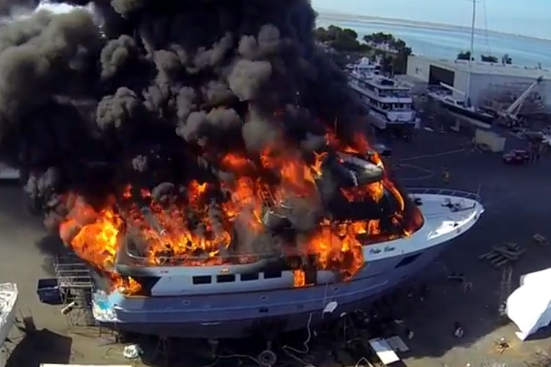 This Drone Footage of a 102-Foot Yacht on Fire is Incredible [video]